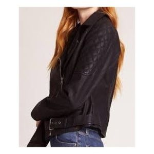 Jack BB Dakota Black Faux Leather Belted Jacket S